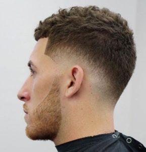 Short Curly Haircut + Low Drop Fade