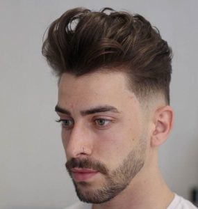 Messy Textured Pompadour + Low Fade