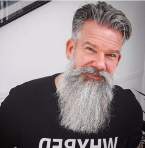 HALF GRAY WITH WHITE AMISH BEARD
