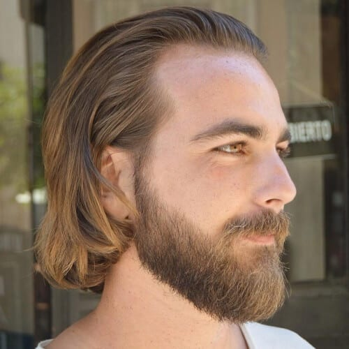 Medium Length Swept Back Straight Hair Men