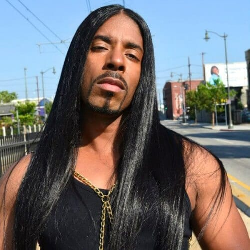 Middle Part Hairstyles for Black Men with Straight Hair