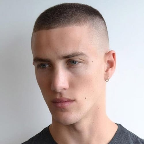 Military Short Hairstyles for Men with Straight Hair