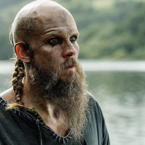 Back Braid with Shaved Head and Beard Vikings Hairstyles