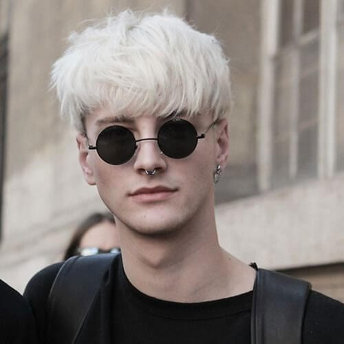 Bleached Bowl Cut Punk Hairstyles for Guys