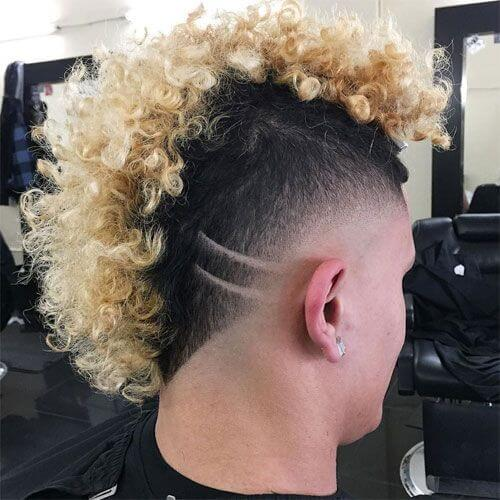 Blonde Curly Mohawk With Hair Decal