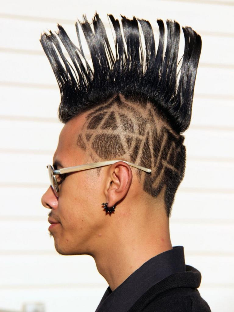 Geometric Shaved Head Punk Hairstyles