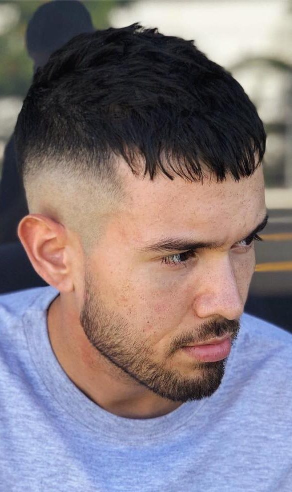 mens fringe hairstyles Skin Fade Drop Down