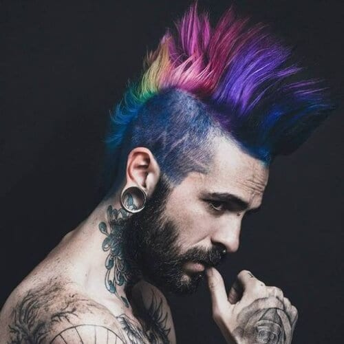 Mens Punk Hairstyles Rainbow Mohawk