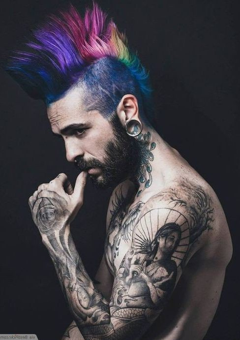 Mens Punk Hairstyles Technicolor Mohawk