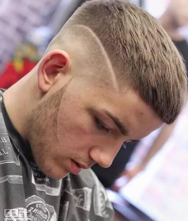 Mens Straightened Hairstyles Cropped Fringe with Skin Fade