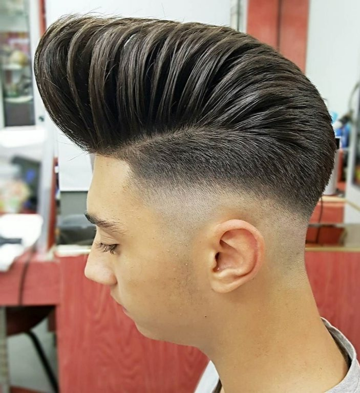 Mens Straightened Hairstyles Long Pomp Fade