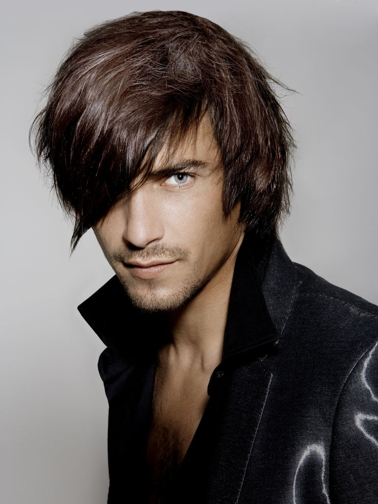 Mens Straightened Hairstyles Side-Swept Fringe