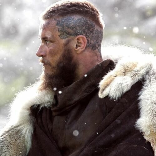 Ragnar Hairstyle – Short High Top Undercut with Tattoo