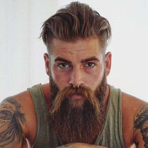 Swept Back Viking Undercut with Giant Beard and Wild West Mustache