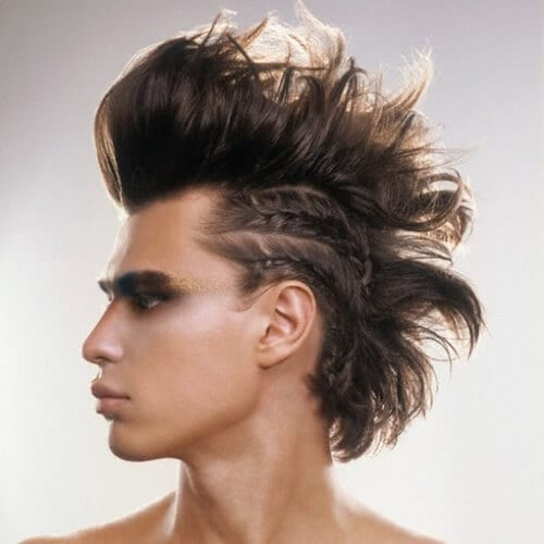 Tribal Punk Thick Mohawk with Side Braids