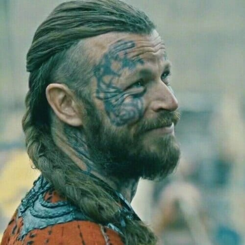 Undercut with Long Thick Braid and Medium Beard