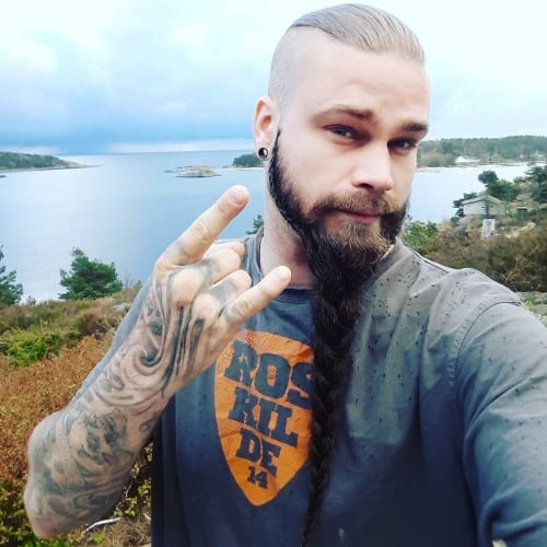 Blonde Top with Black Viking Beard Styles