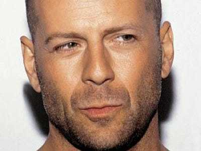 Bruce Willis Stubble shaved head with beard