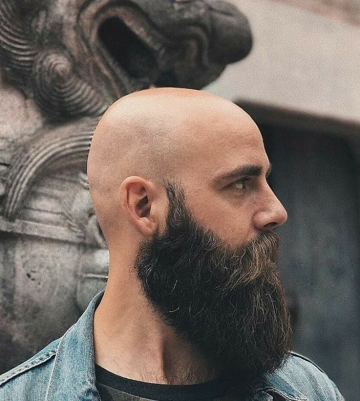 Full Beard with The Shiny Bald Head