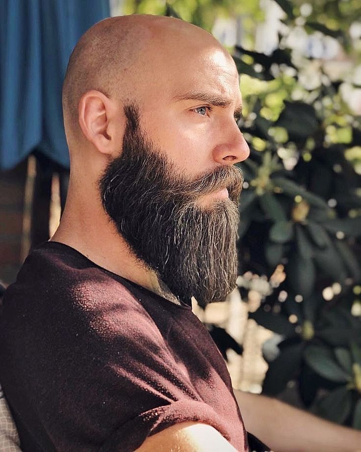 Long, Thick Beard with Shaved Head