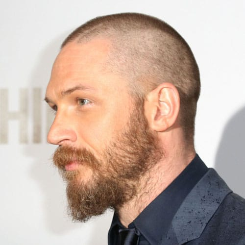 Shaved head with beard