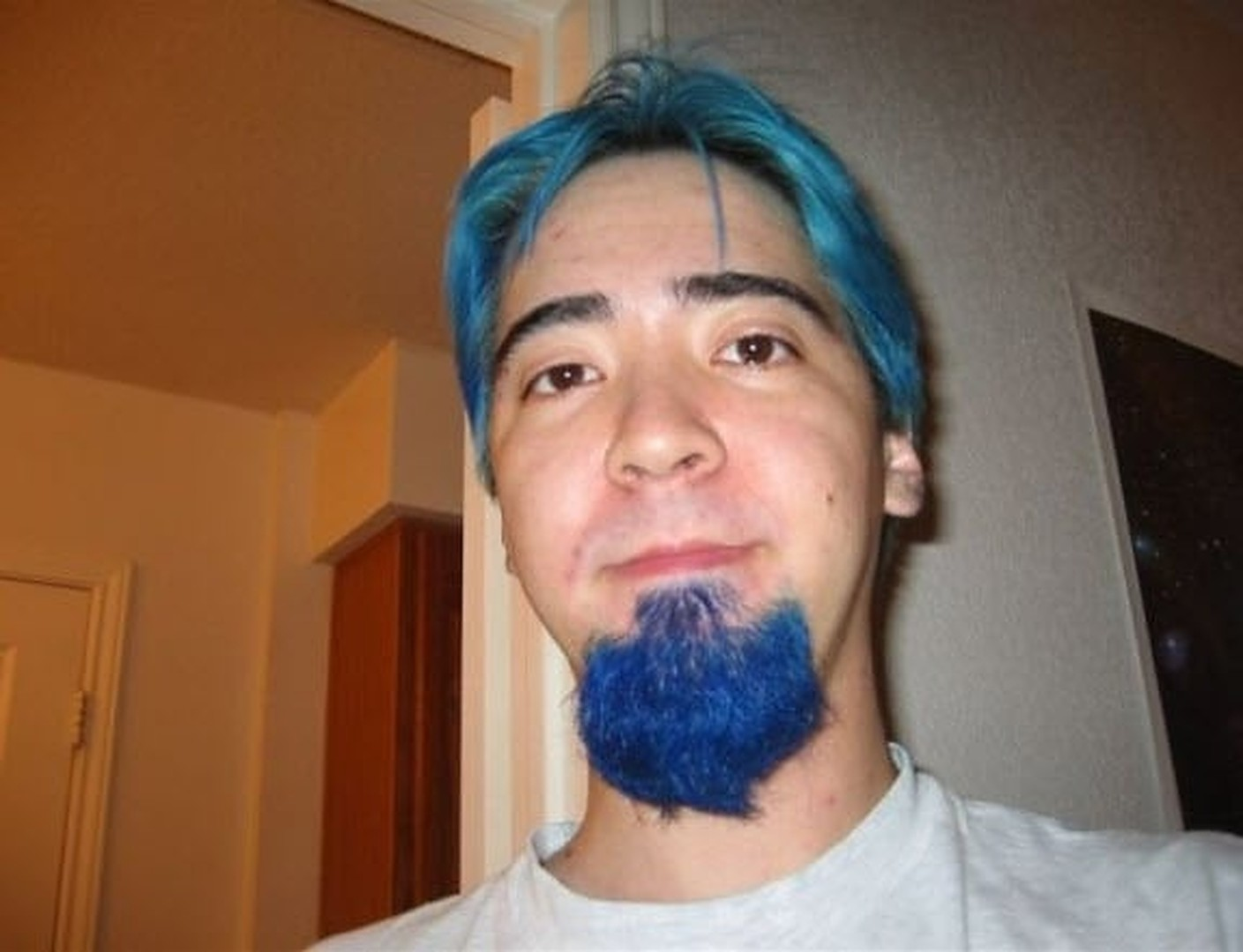 Blue color beard without mustache and hair