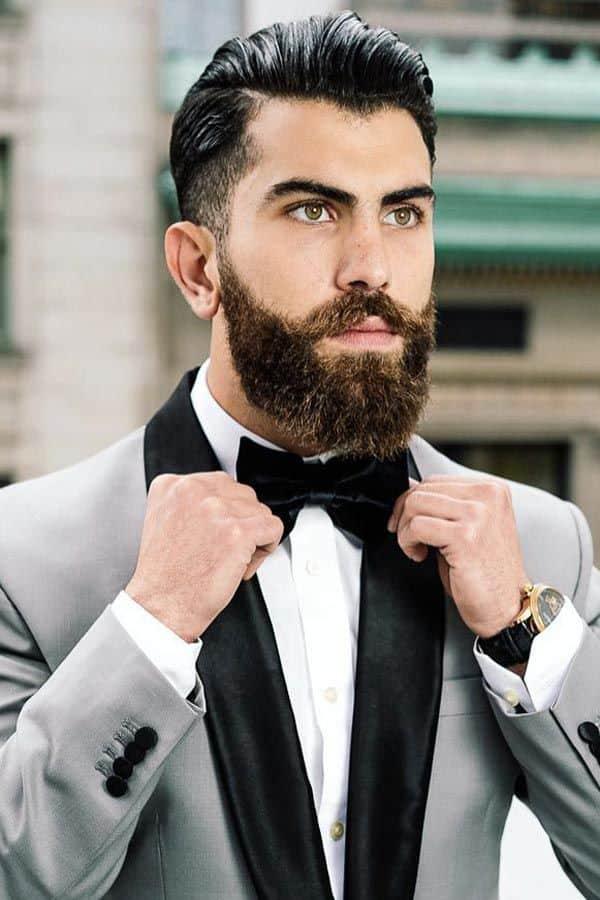 Mens Wedding Hairstyle Brushed Back Medium Hair