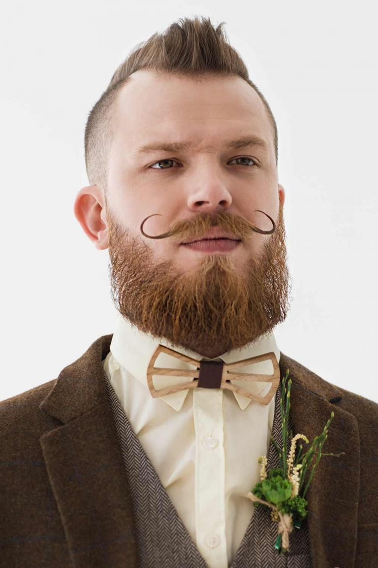 Mens Wedding Hairstyle Short Mohawk And Moustache