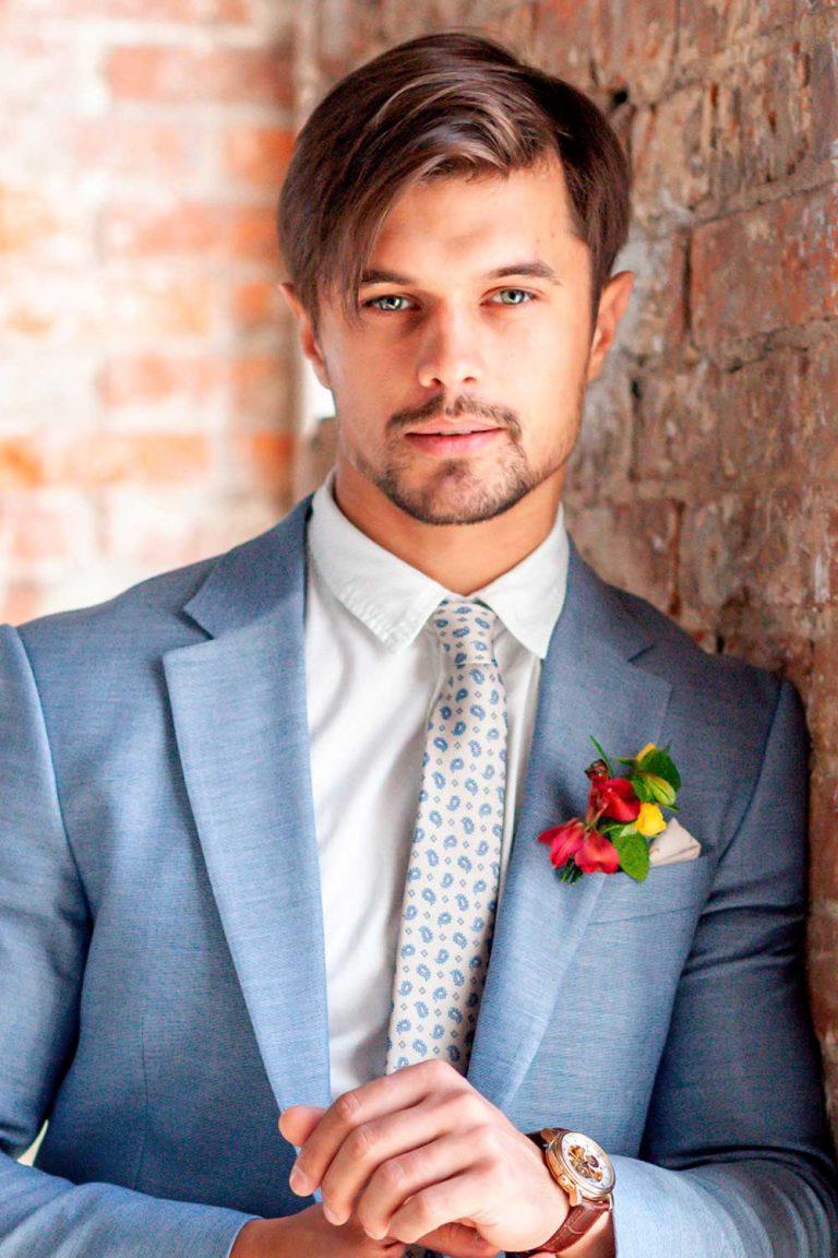 Mens Wedding Hairstyle Two Block Groom Hair