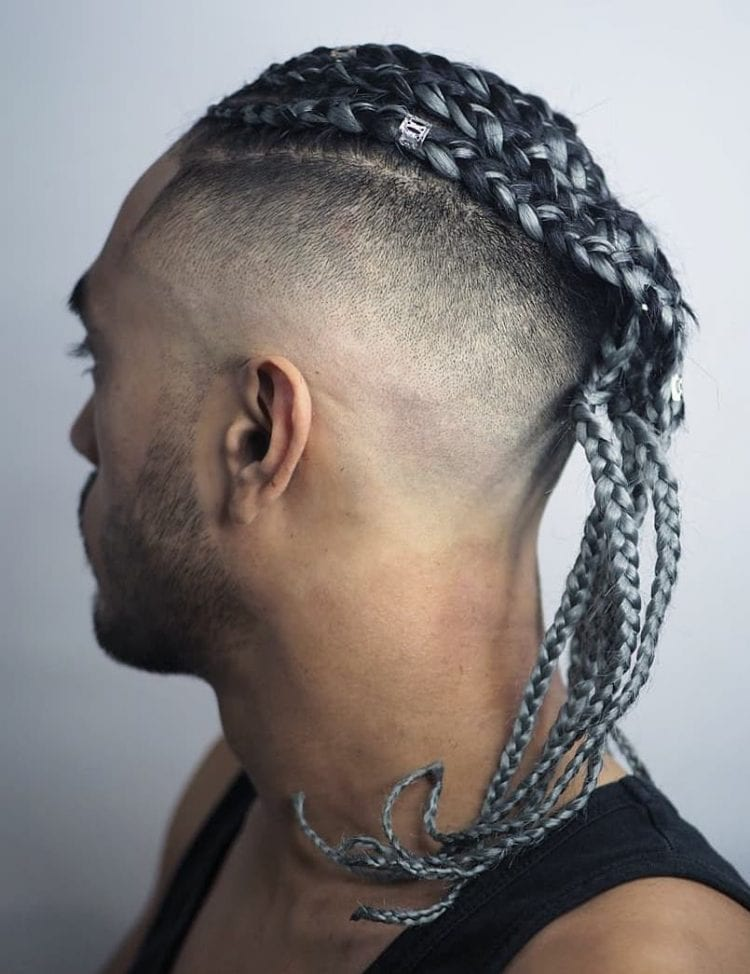 Fine Taper Fade with Dyed Braids