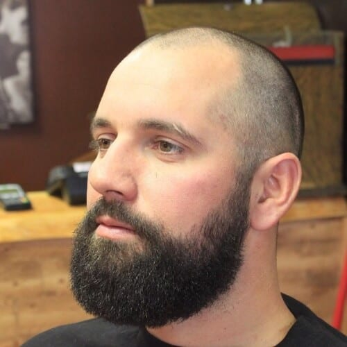 Buzz Cut with Thick Beard hairstyles for balding men