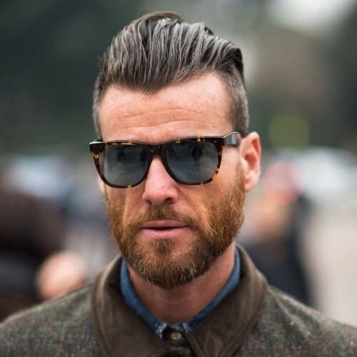 Classic Shaved Sides Hairstyle with Beard