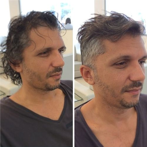 Messy Hair with Side Trim hairstyles for balding men