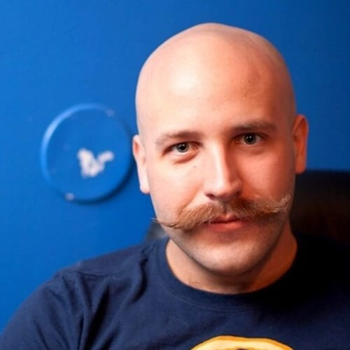 Shaved Head with Moustache hairstyles for balding men