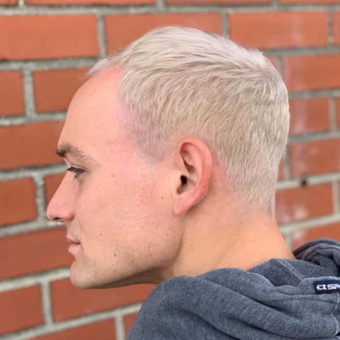 Short Side-Swept Temple Fade hairstyles for balding men