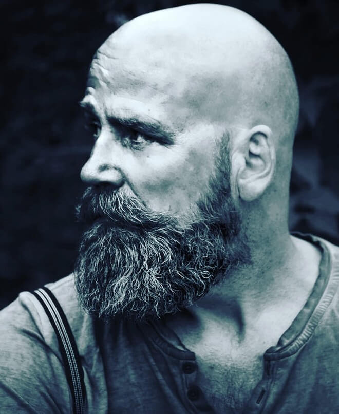 Hipster bald with beard