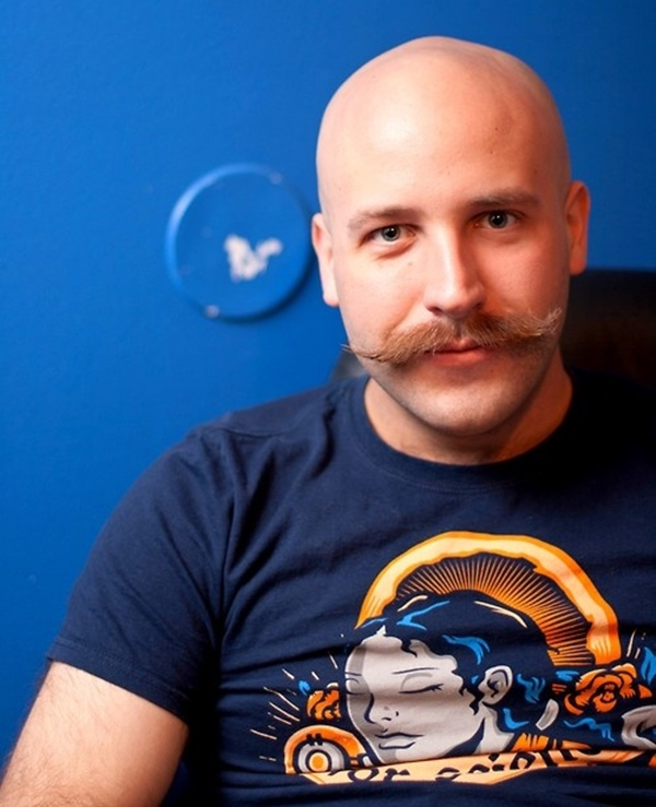 Moustache Only bald with beard