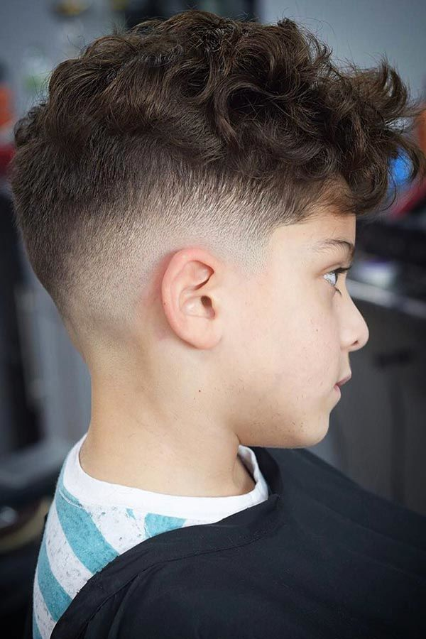 boys haircuts Curly Fringe With Faded Sides