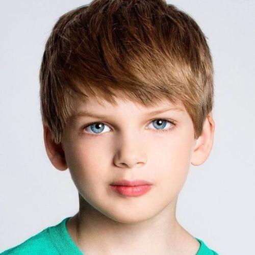 boys haircuts Model in Training – Straight Bangs
