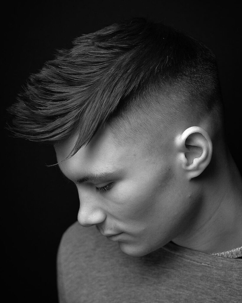 high skin fade Designer Temple with High Volume Top