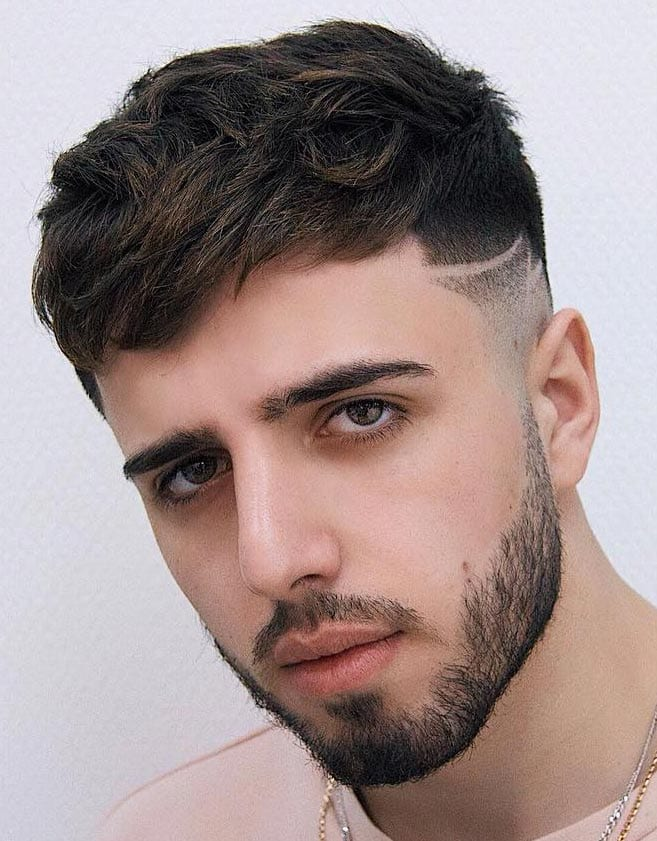 high skin fade Line up with Pompadour