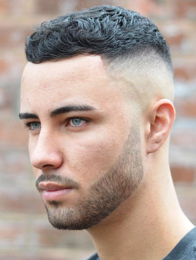 high skin fade Textured Short Top with a Line Up
