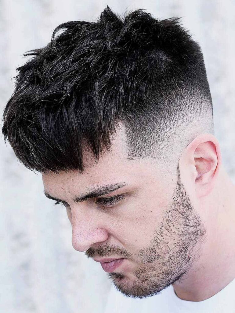 high skin fade with Messy Top