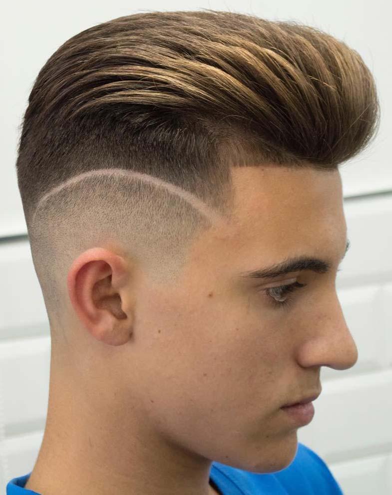Taper high skin fade Sides with Designer Neckline