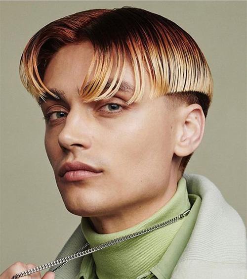 Sharp Angled Cut curtain haircut