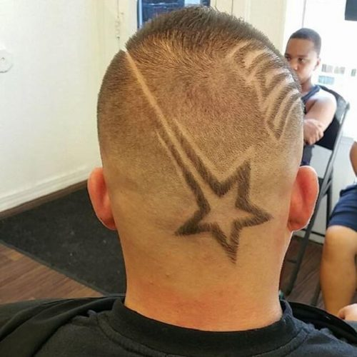Buzz Cut With Back Star Design