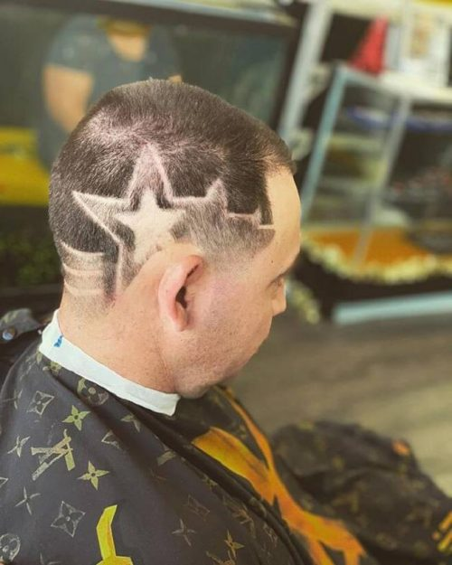Buzz Cut With Side Star Design