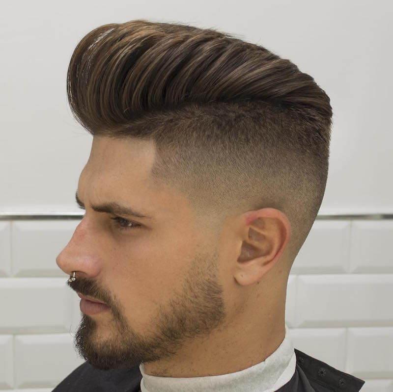 High Fade Pompadour hispanic men's haircuts