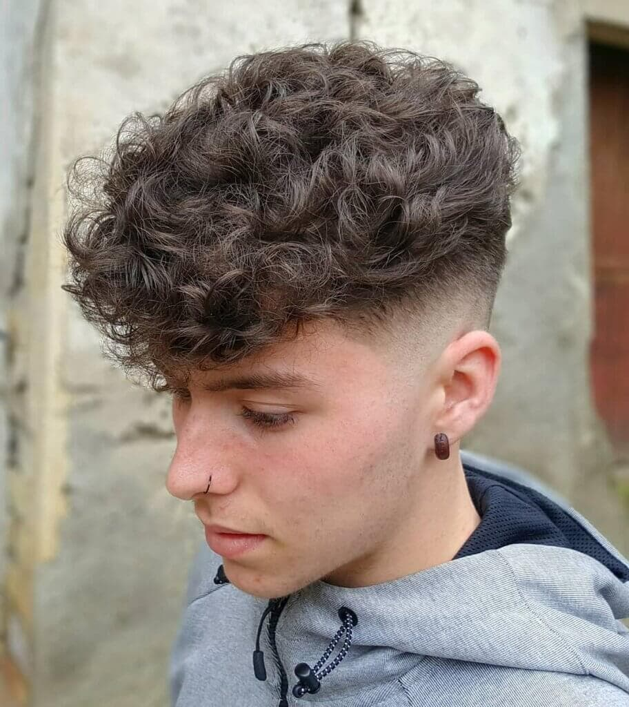 Low Fade Curly Hair Fringe