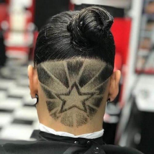 Man Bun With Undercut Star Design
